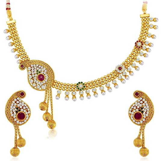 The Jewelbox Antique Gold Plated Red Green Stone Pearl Paisley Hand Crafted Choker Necklace Earrings Set for Women Jewellery Sets at amazon