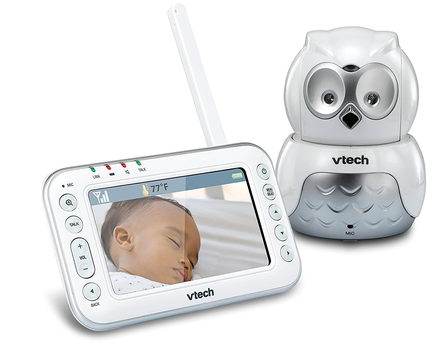 VTech Safe and Sound Audio/Video Baby Monitor with Owl Camera, Pan and Tilt, White, One Size VM344
