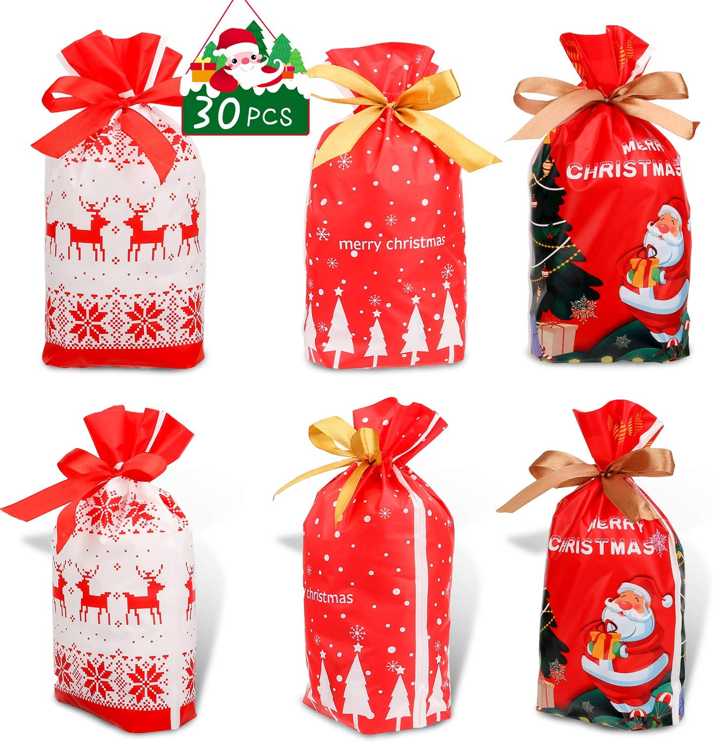 Konsait 30Count Christmas Candy Bags, Christmas Drawstring Gift Bags, Christmas Goody Bags with Bow-Tie, Christmas Holiday Treats Bags Xmas Accessories Christmas Party Favors Supplies Gift Wrapping