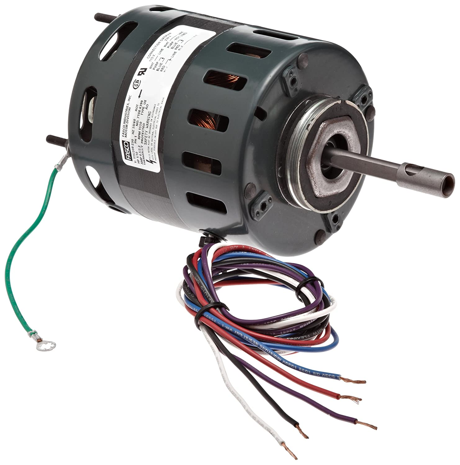"""Fasco D481 4.4"""" Frame Open Ventilation Shaded Pole Refrigeration Fan Motor with Sleeve Bearing, 1/10 HP, 1550rpm, 115/208-230V, 60Hz, 4.5-2.2 amps, CCW Rotation"""
