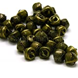 50 Round 10mm 3/8 inch Iron Craft Jingle Bells with Loop to Use as Dangle Charms (Antique Bronze)