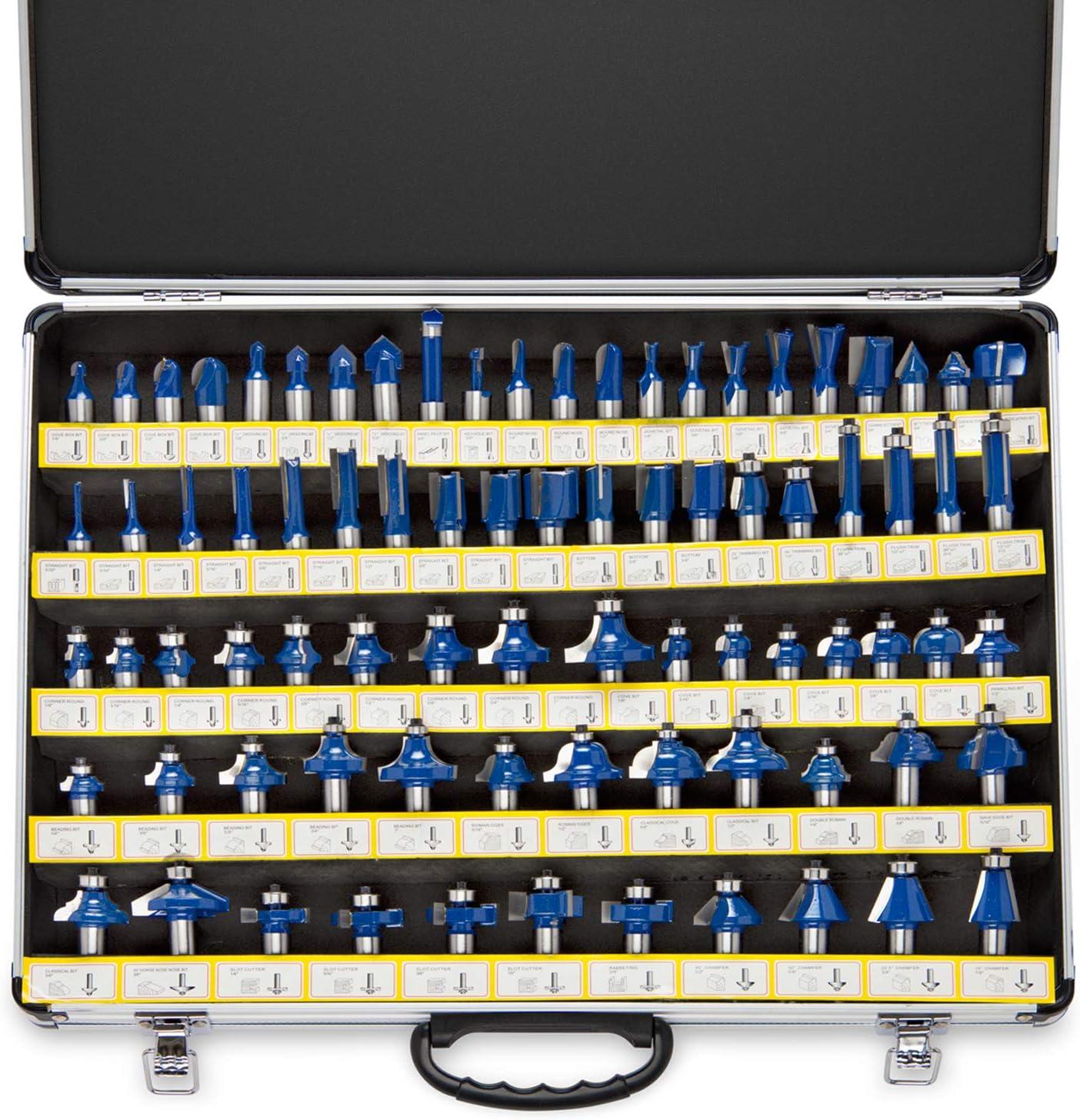7. Neiko 10115A Premium Tungsten Carbide Router Bits 80-Piece Set