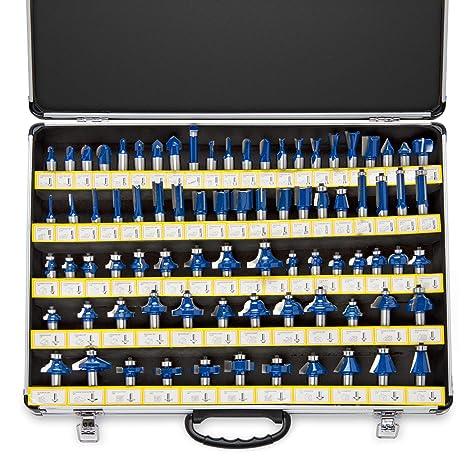 Neiko 10115A Premium Tungsten Carbide Router Bits   80-Piece Set   Aluminum  Storage Case