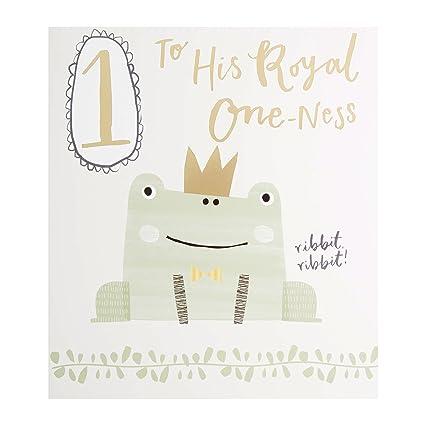 Hallmark – Tarjeta de rana 1st cumpleaños tarjeta Royal one-ness – Medium