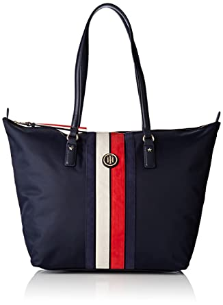 Tommy Hilfiger Womens Poppy Tote Corp Stripe Canvas and Beach Tote Bag  Multicolour (Tommy Navy 8b5fec69b83d