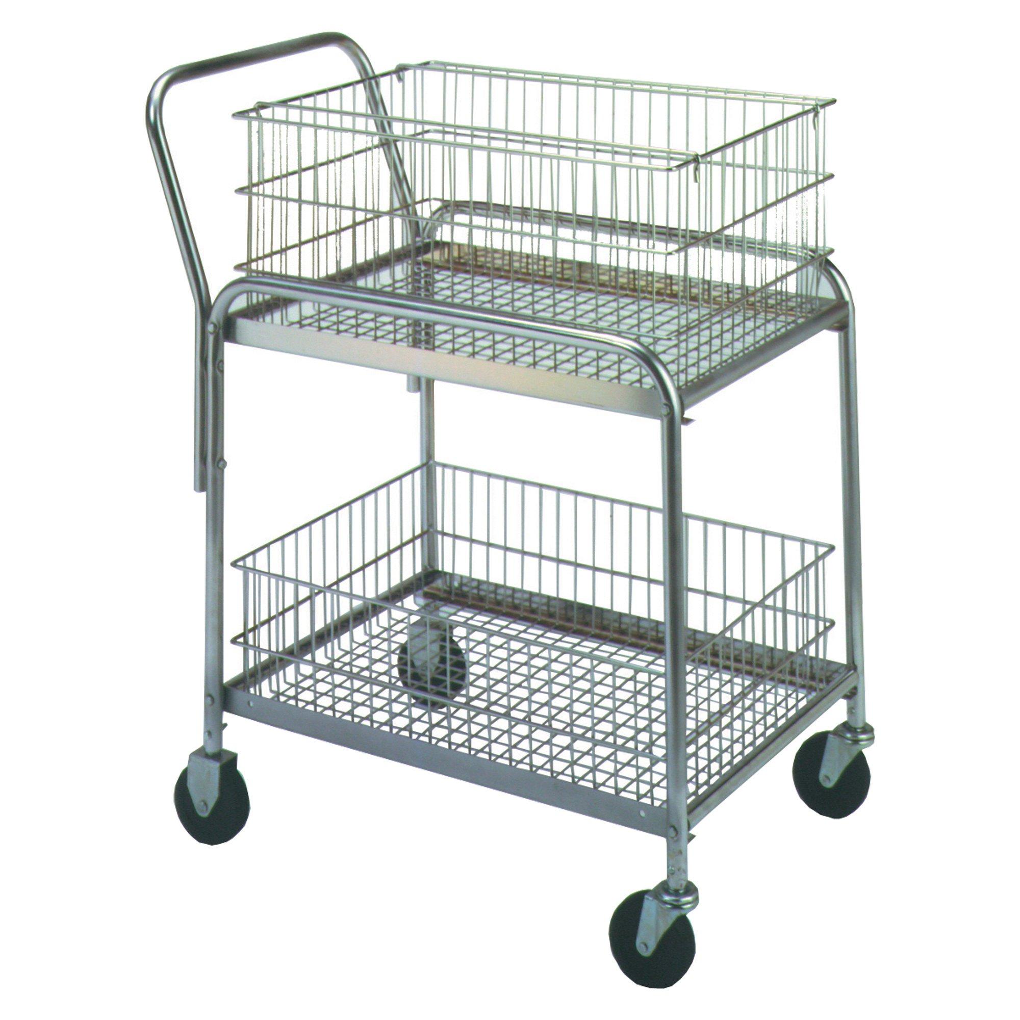 Mail Cart, 33'' x 20'' x 37 1/2'', Silver, 1/Each