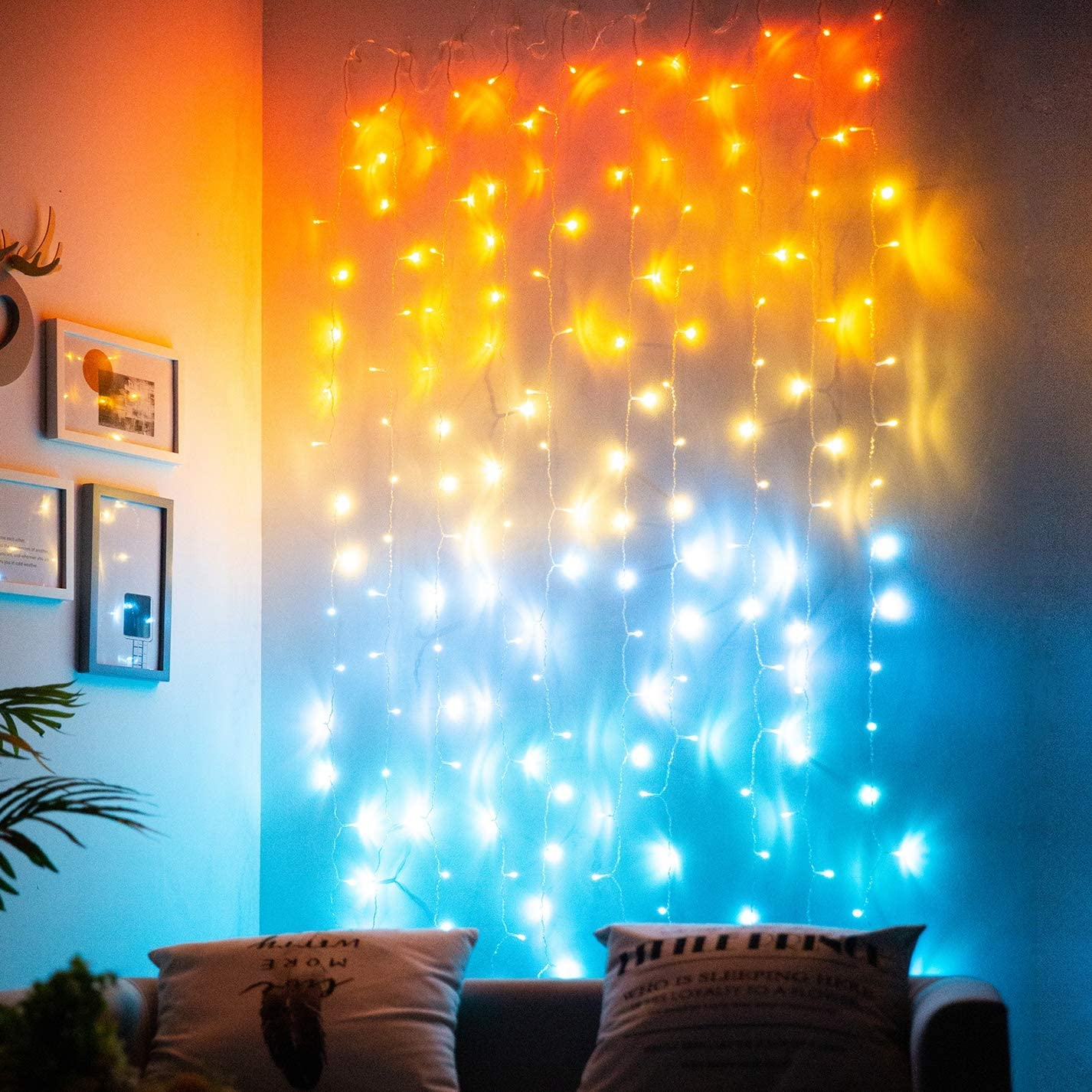 Sunset Orange Curtain Lights for Bedroom Lighted Curtains Led String Lights Coral Burnt Orange Yellow Warm White Turquoise Aqua Blue Fairy Lights for Hawaii Sunroom Ocean Gold and Teal Room Decor
