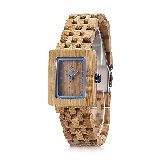 amexi bambú Mujer Reloj Relojes mujeres Madera de Cerezo los mejores accesorios Marrón: Amazon.es: Relojes
