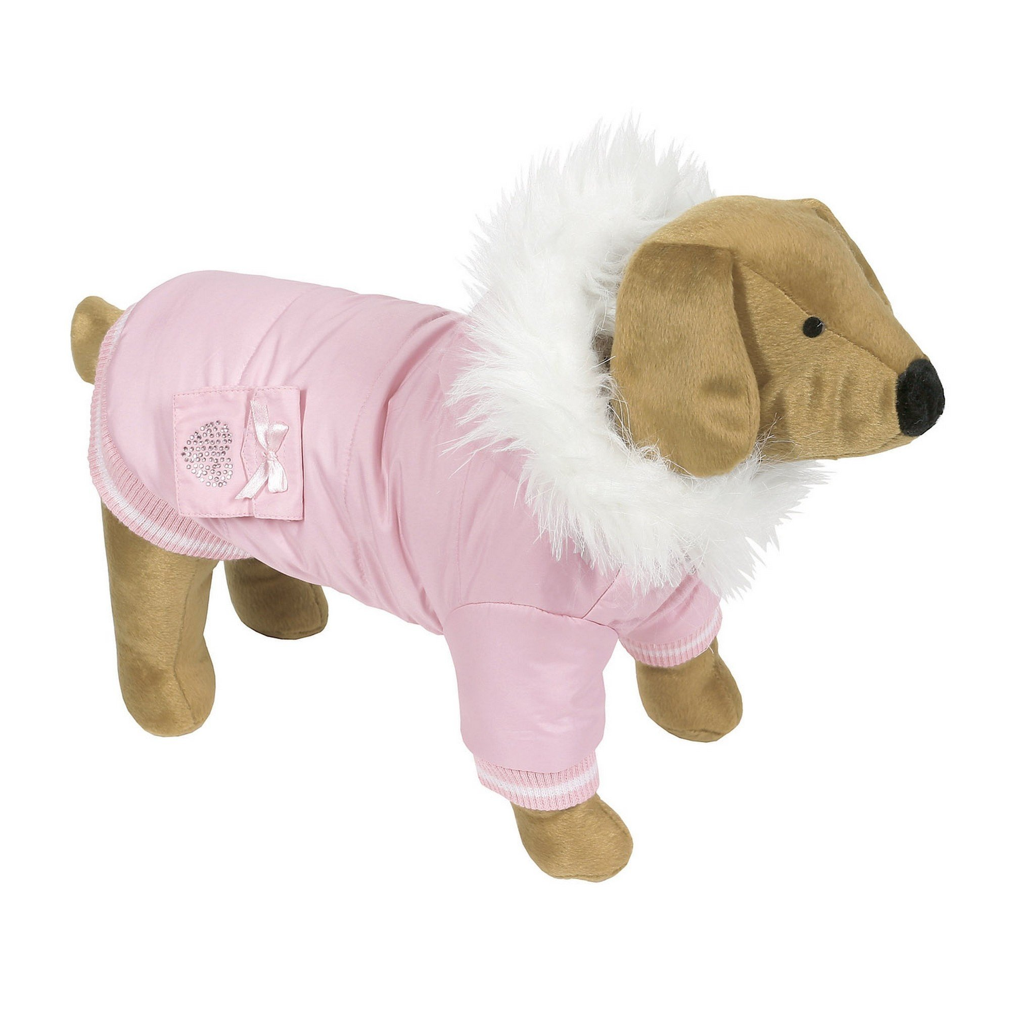 Animal Kingdom Doggy Things Diamante Pocket Parka Waterproof Dog Coat (X Small) (Pink)
