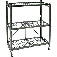 Origami General Purpose Foldable 3-Shelf Storage Rack With Wheels - Refurbished