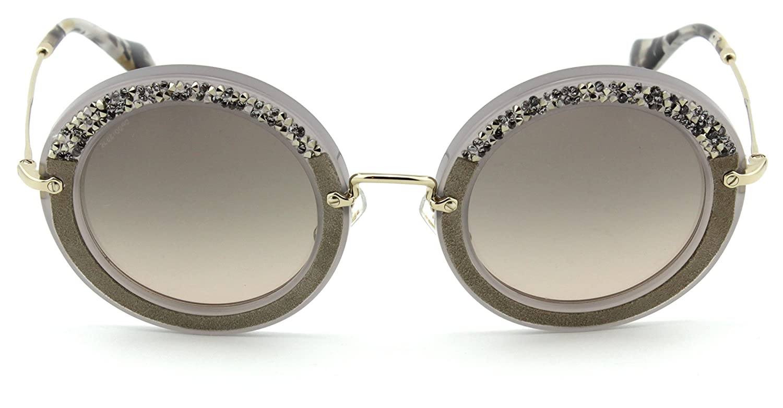3f6319768c3e Amazon.com: Miu Miu MU 08RS NOIR Collection Round Crystal Embellishment  Women Sunglasses (Grey Frame, Grey Gradient Lens UE23D0): Clothing
