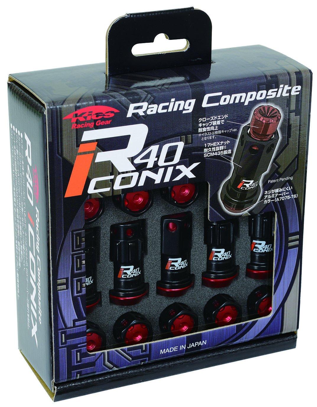 KYO-EI (協永産業) ホイールロックナット Racing Composite R40 iCONIX 【 M12 x P1.25 】 アルミキャップ付 【 ブラック/ブルー 】 RIA-13KU B00OYSJBGI