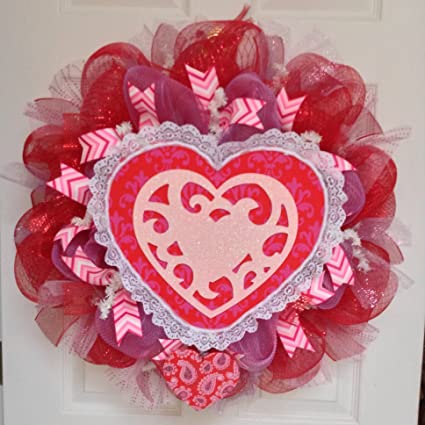 Amazon Com Valentines Day Fleur De Lis Double Heart Deco Mesh
