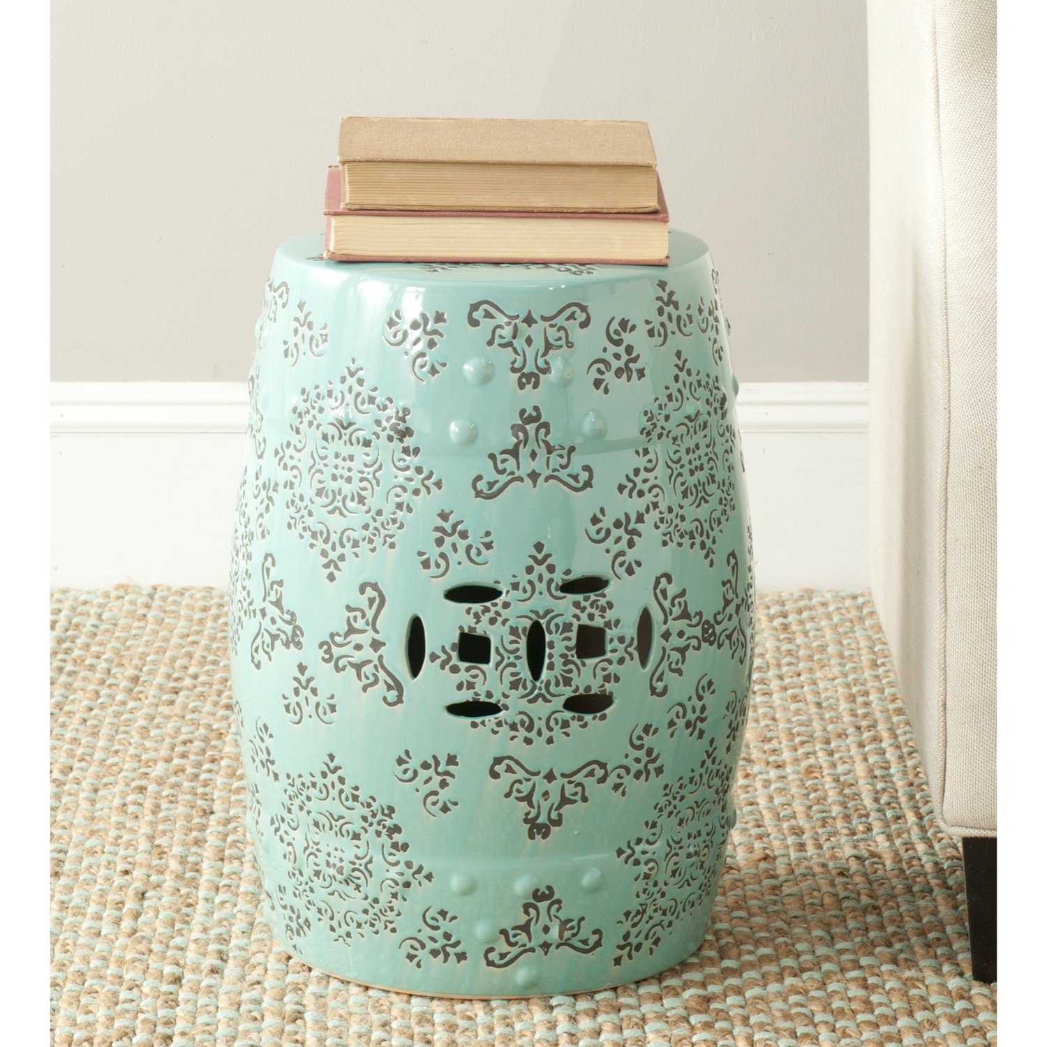 Safavieh Castle Gardens Collection Glazed Ceramic Robins Egg Blue Medallion Garden Stool