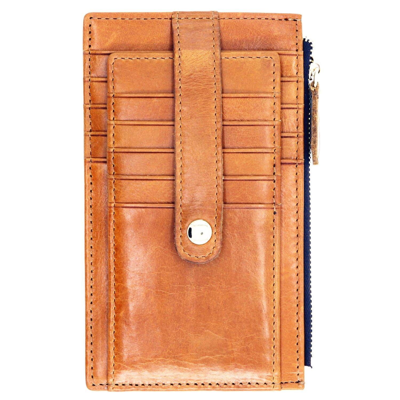 Vlike Top Grain Leather Multi 15 Bifold Credit Card Organizer Wallet Bifold with Snap (Khaki)