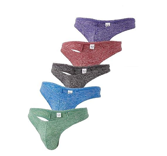 5dd9158b893 WUAI Men s Thongs Breathable Lightweight Comfort Bikini Low Rise Underwear G -Strings Briefs (5