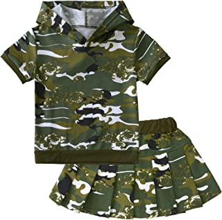 POBIDOBY Boys' Kids Camouflage 2Pcs Clothes Set Hooded Tops T Shirt and Short
