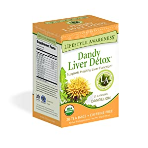 Lifestyle Awareness Dandy Liver Detox Tea with Cleansing Dandelion, Caffeine Free, 20 Tea Bags