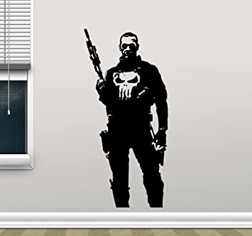 Punisher Wall Decal Marvel Superhero Vinyl Sticker Video Game Gaming Wall  Decor Cool Wall Art Kids