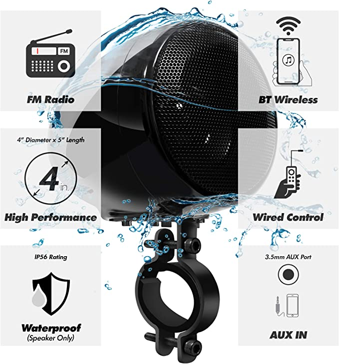 GoHawk TN4-R Amplifier 4 Full Range Waterproof Bluetooth Motorcycle Stereo Speakers 1 to 1.5 in TN4-R Black AUX Handlebar Mount Audio Amp System Harley Touring Cruiser ATV UTV RZR FM Radio