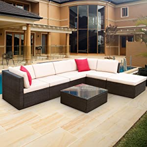 Furniwell 7 Pieces Patio Outdoor Furniture Sets, All Weather Modern Sectional PE Rattan Manual Wicker Conversation Set with Cushions and Glass Table for Lawn, Backyard, Poolside (Brown)