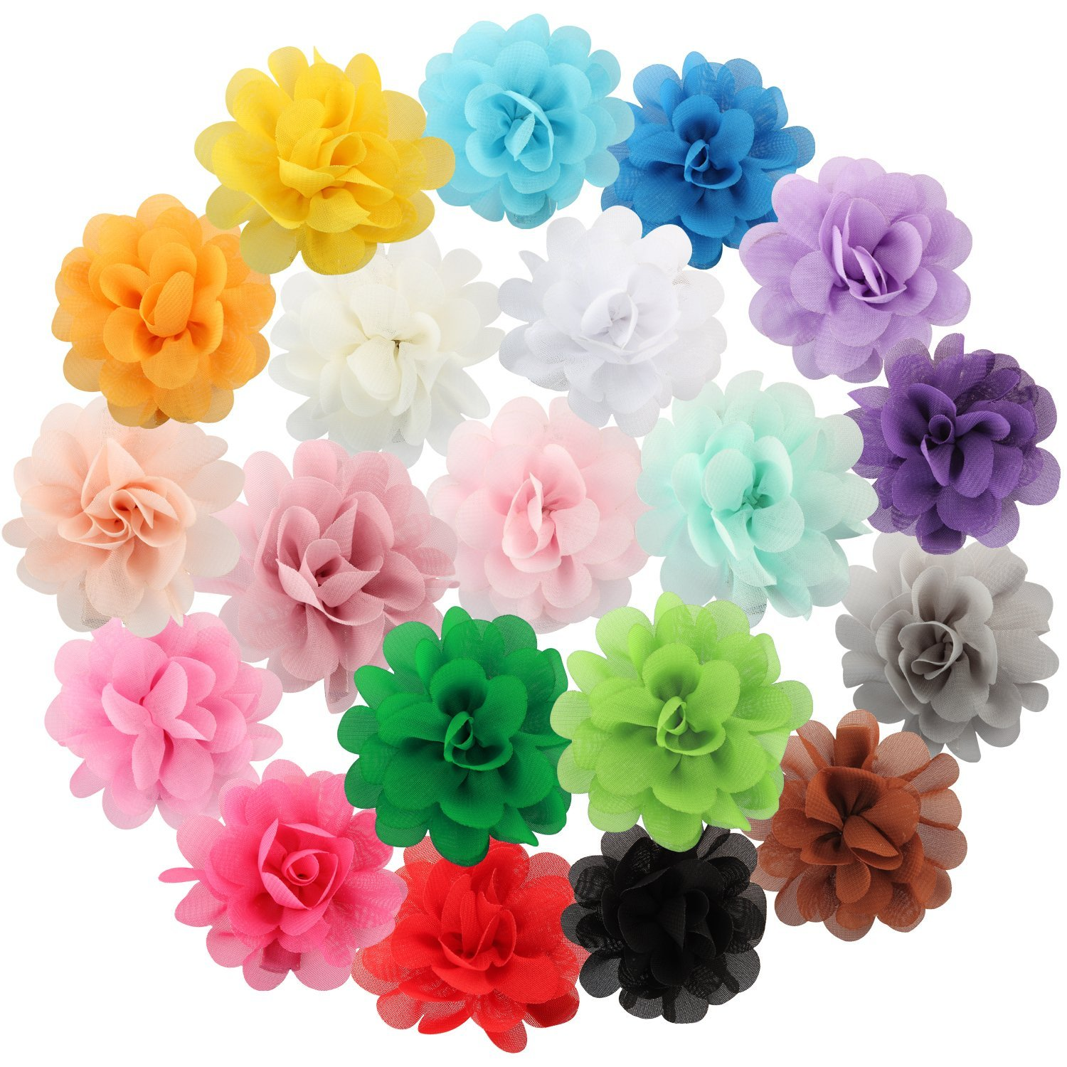 Discoball 20pcs Multicolor Chiffon Flower Hair Clips Alligator Clip for Wedding Party Barrettes Accessories Kids Baby Girls Flower Headwear