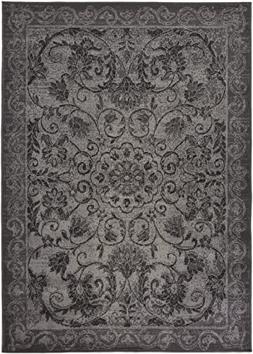 Modela Collection Area Rug 3pc Set Area Rug, Runner, and Doormat Set Vintage Medallion Grey