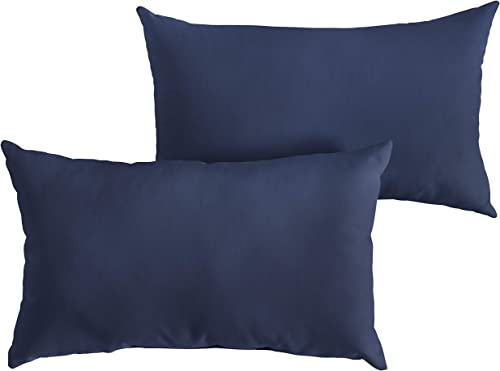 1101Design Sunbrella Canvas Navy Knife Edge Decorative Indoor/Outdoor Rectangle Lumbar Pillow