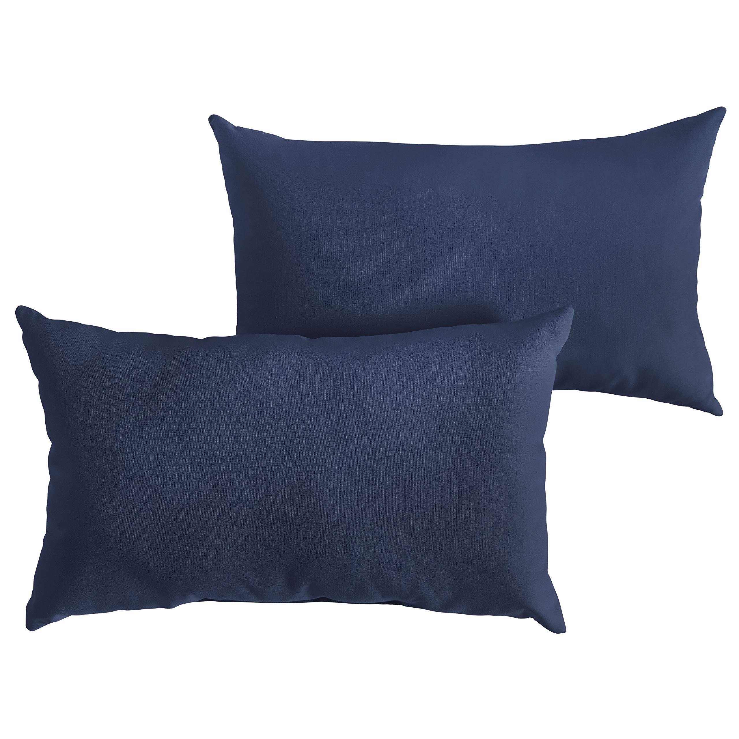 1101Design Sunbrella Canvas Navy Knife Edge Decorative Indoor/Outdoor Rectangle Lumbar Pillow, Perfect for Patio Decor - Canvas Navy Blue 14'' x 24'' (Set of 2)