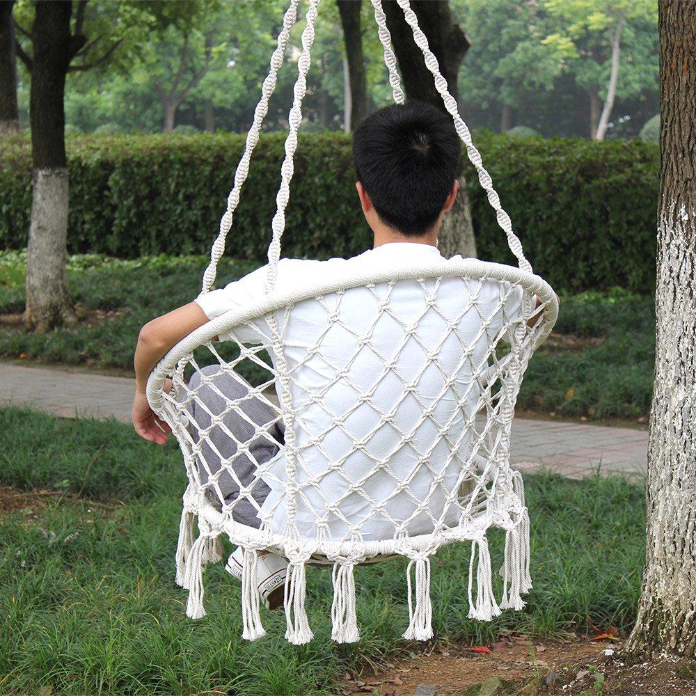 Hi Suyi Hanging Rope Hammock Lounger Chair Macrame Porch Swing for Indoor Outdoor Home Bedroom Patio Deck Yard Garden,Include Hooks No Ceiling Mount Set