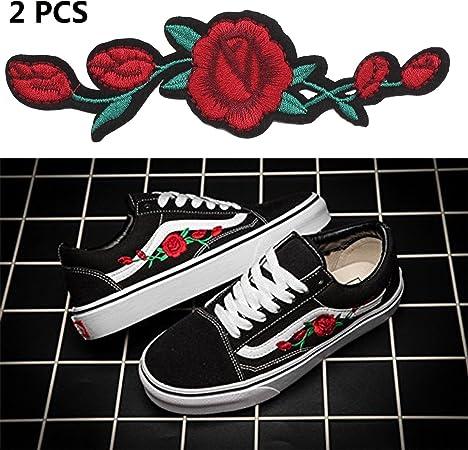chaussure vans a fleur rouge