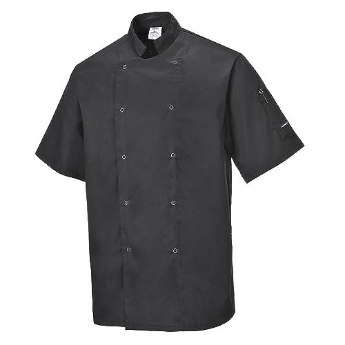 Portwest C733BKRM Cumbria Chefs Jacket, Regular, Medium, Black
