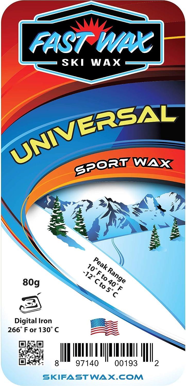 Fast Wax - Universal Ski Wax - Low Fluorocarbon (80 Gram bar) Yellow - Made in America