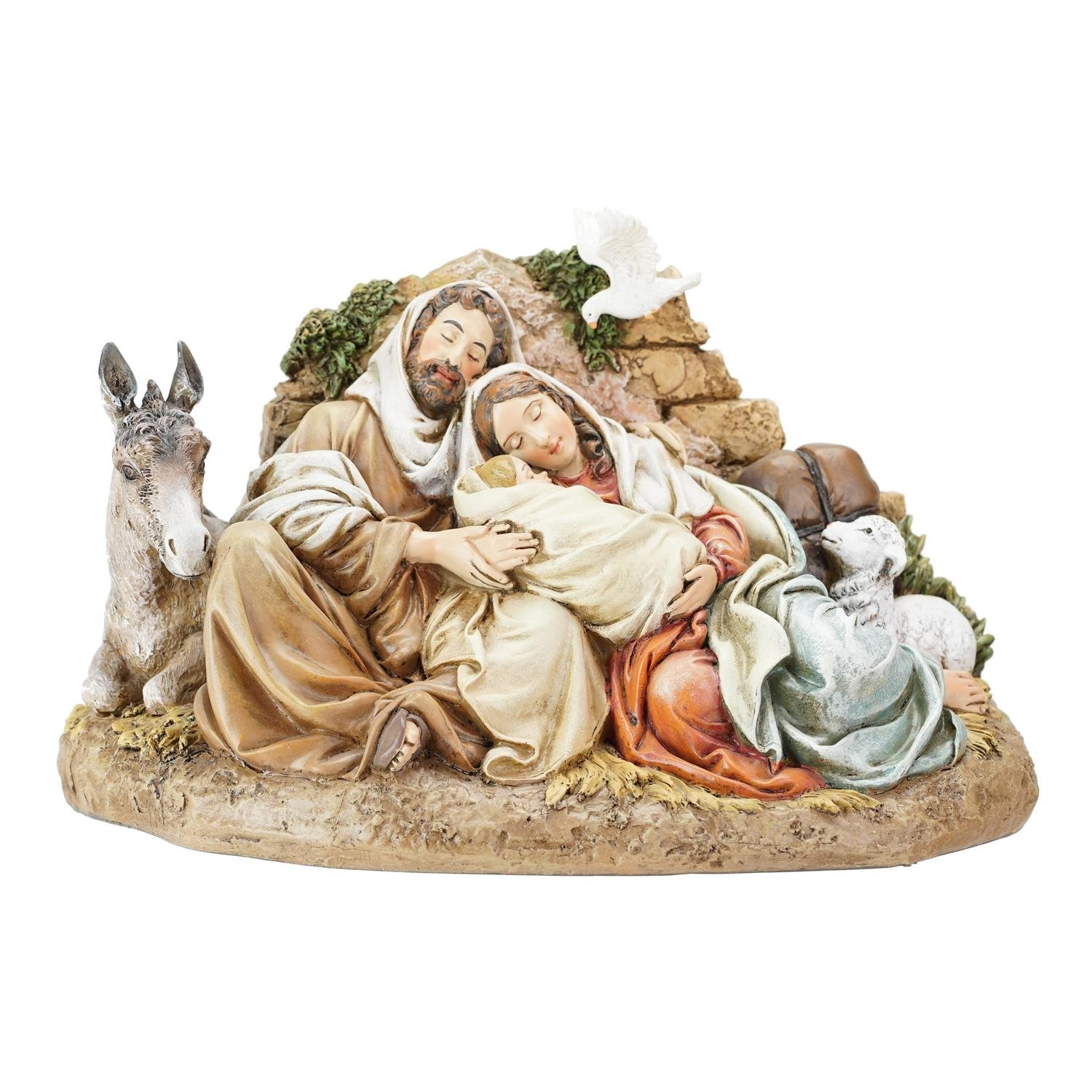 Roman 9.5'' Beige and Brown Restful Holy Family Christmas Table Top Decoration