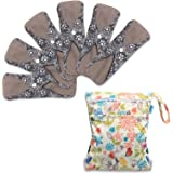 Teamoy 6Pcs 10 Inches Sanitary pad, Reusable Washable Cloth Menstrual Pads/Panty Liners with Wet Bag, Super-absorbent, Soft and Comfortable, Perfect for General Flow(Medium, Flowers)