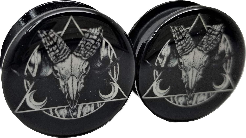 Pierced Republic Ram Skull Black & White Ear Plugs - Acrylic Screw-On - 10 Sizes - Brand NewPair