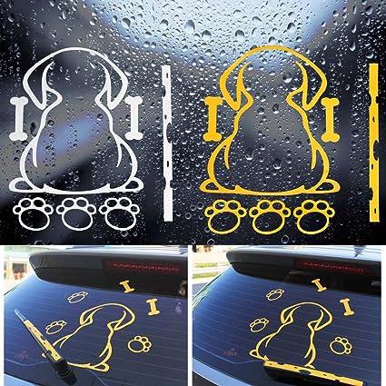 EQLEF Pegatina para limpiaparabrisas de Coche con diseño de Perro de Dibujos Animados, Blanco,