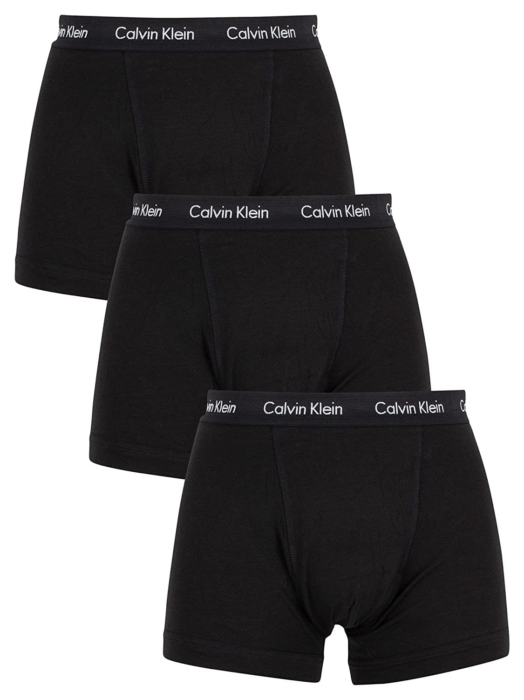 Calvin Klein Men's 3 Pack Cotton Stretch Trunks, Black