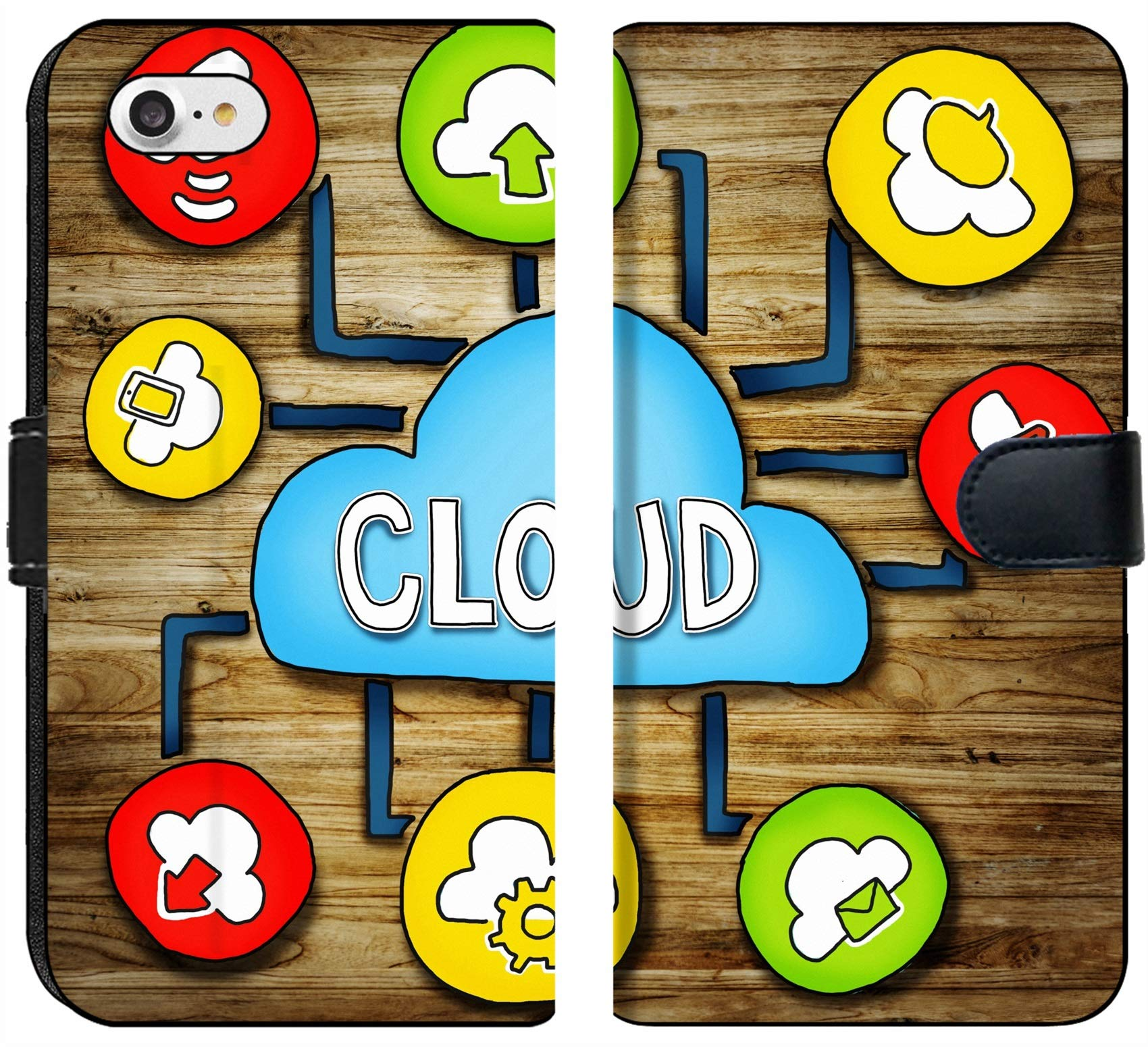 Luxlady iPhone 7 Flip Fabric Wallet Case IMAGE ID: 34402076 Aerial View of People and Cloud Computing Concepts by Luxlady