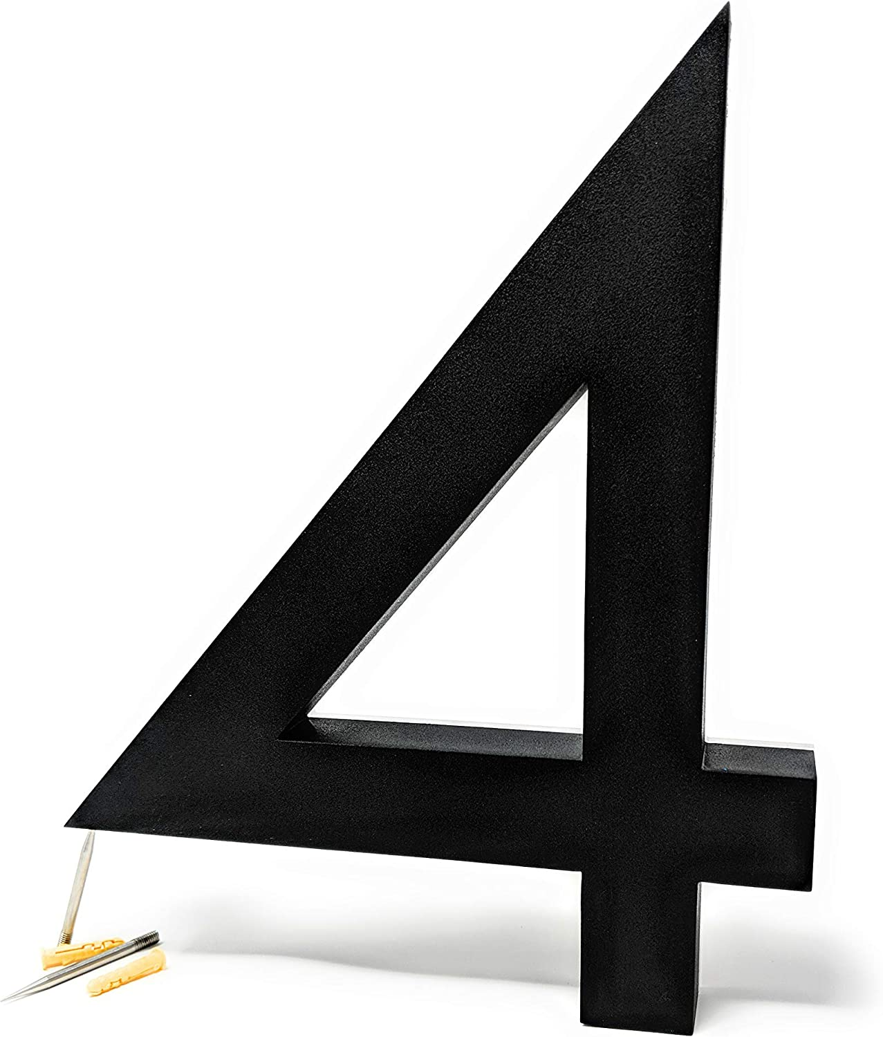 12 Inch Backlit LED House Numbers | Big, Modern Lights Address Signs for Homes | Soft, Exterior Glow | Stainless-Steel Black Finish | Weather Resistant, Durable | by JELSCO (4, Neutra Black)