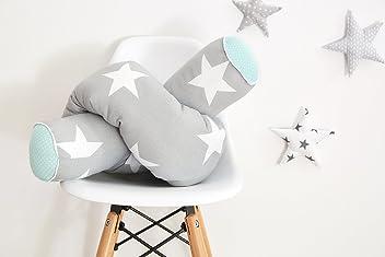 KraftKids Bettrolle große weiße Sterne auf Grau/weiße Punkte auf Mint Rollenlänge 140 cm