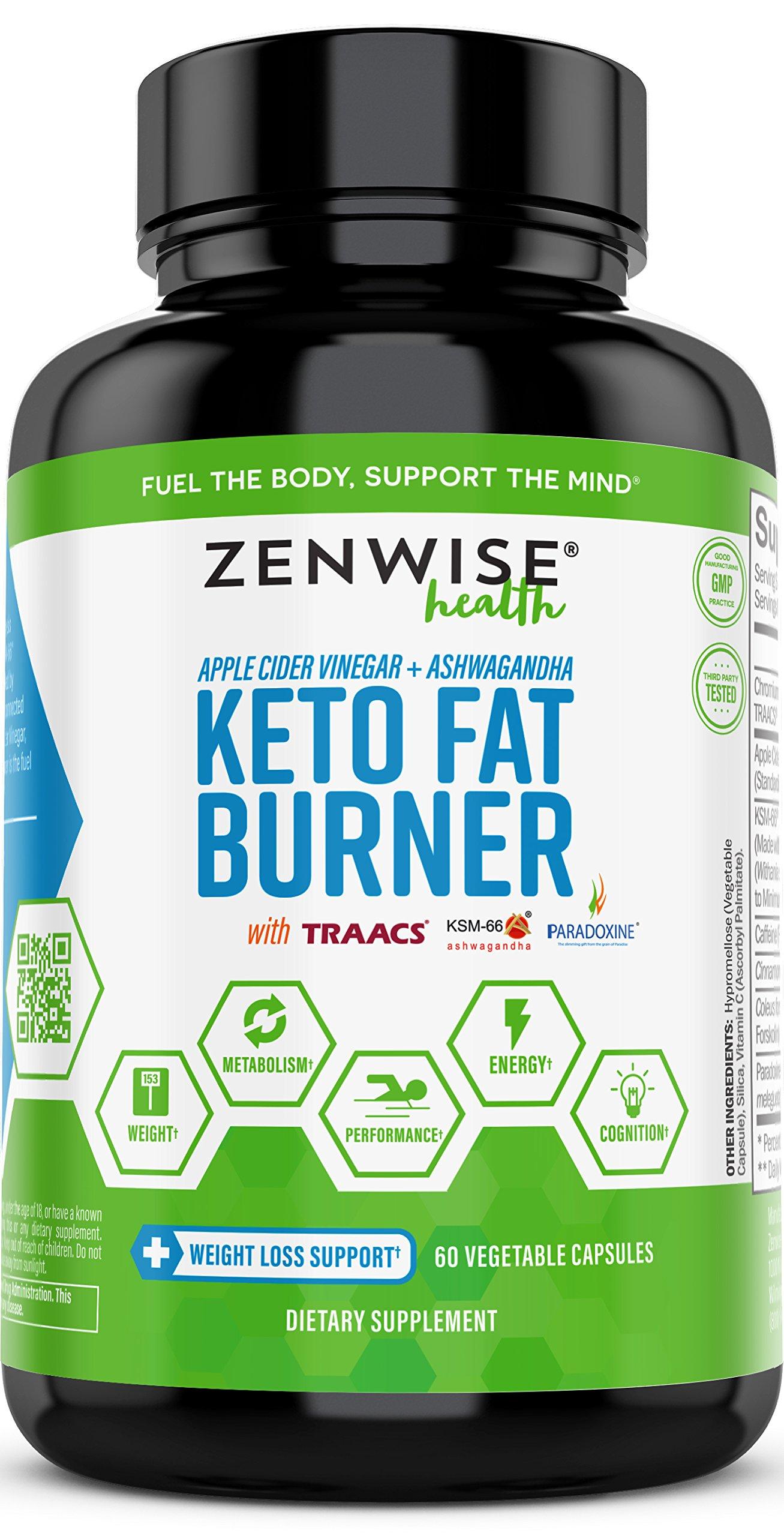 Keto Fat Burner - Ketogenic Diet Pills with Apple Cider Vinegar, Ashwagandha, Forskolin & Caffeine - Thermogenic Fat Burners + Metabolism & Energy Supplement - 60 Capsules by Zenwise Health