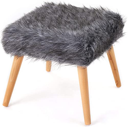 Christopher Knight Home Huxley Faux Fur Ottoman, Grey
