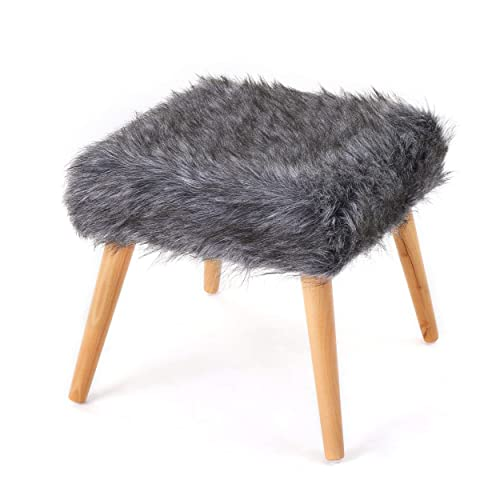 Christopher Knight Home Living Hussey Mid-Century Grey Faux Fur Ottoman 1