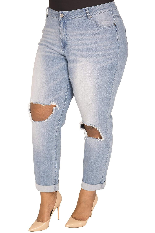 e2958b95969 Poetic Justice Plus Size Women s Curvy Fit Light Wash Destroyed Boyfriend  Jeans Blue at Amazon Women s Clothing store