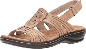 a270916da09f Clarks Womens Leisa Vine Leather Open Toe Casual Ankle Strap Sandals