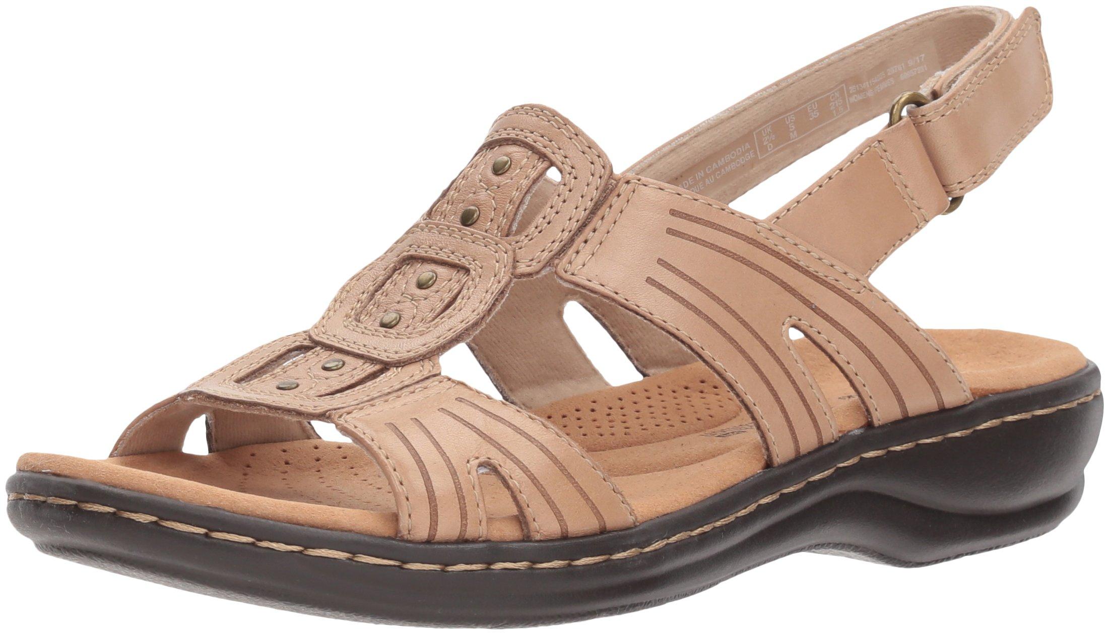 CLARKS Women's Leisa Vine Platform, Sand Leather, 9.5 Wide US