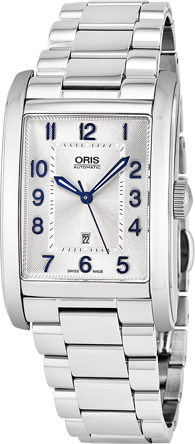 Amazon.com: Oris Rectangular Date Mens Silver Face Luminous Hands Swiss Made Stainless Steel Rectangle Automatic Watch 01 561 7693 4031-07 8 22 20: Oris: ...