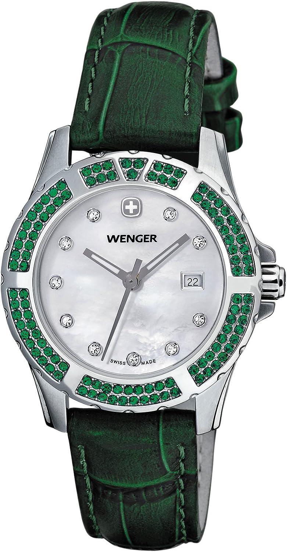 Wenger Women s 70313 Sport Elegance Green Leather Strap Watch