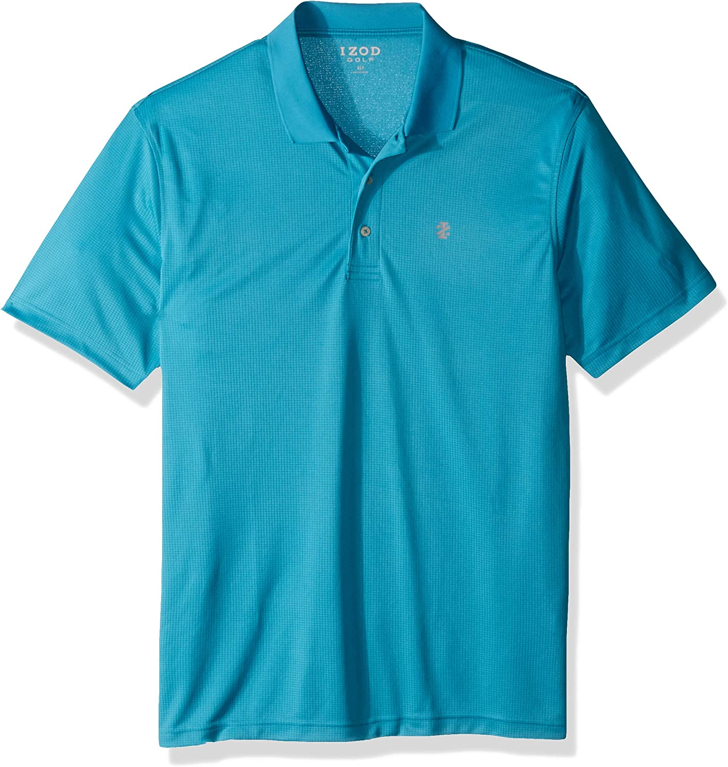 IZOD Men's Big and Tall Golf Champion Grid Short Sleeve Solid Polo